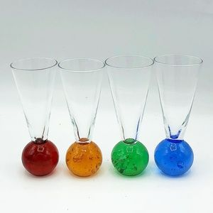 Set of Four Shot Glass Bubble Ball Bottoms